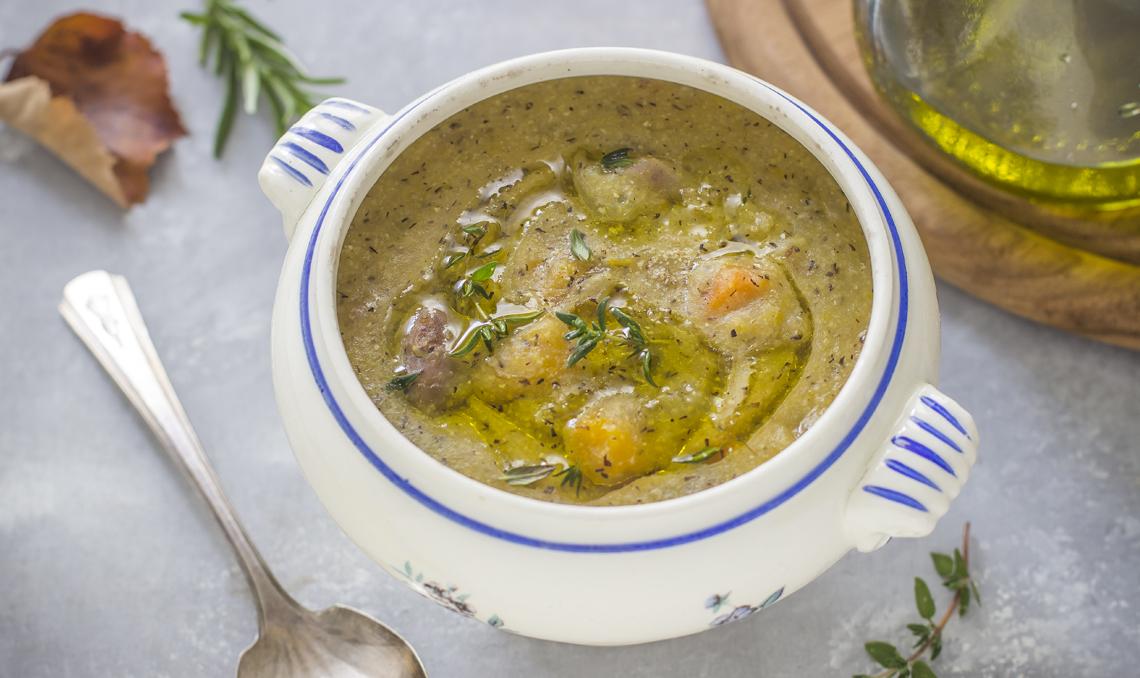 Zuppa di zucca con polenta taragna